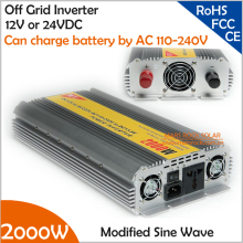 2000W modified inverter with wide AC110V- 240V grid charger for battery, 12V or 24V DC to AC 110V or 220V off grid inverter