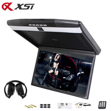 XST 17.3 Inch Car Roof Flip Down Ceiling Mount Monitor Support HD 1080P IR FM Transmitter USB SD HDMI Built Speaker Microphone(China)