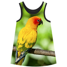 Girls Dresses big brand Children Designer baby Kids Clothes Fashion Girl clothing yellow bird dress Summer style kids dresses(China)