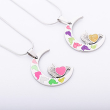 Fashion Women's and men's Jewelry Multicolor mermaid moon Shape Enamel stainless steel pendant necklaceJewelry(China)