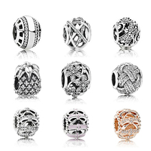 CPPO 100% 925 Sterling Silver Pandoras Hollow flower bead charm The lion head beads Fit DIY charms Original bracelet Free mail(China)