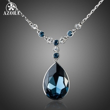 AZORA White Gold Color Big Irregular Shape Ink Blue Stellux Austrian Crystal Pendant Jewelry Necklace TN0064