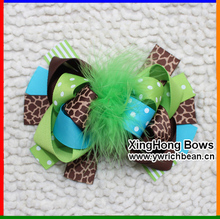 Girl's  Large Boutique In  Green Brown with Leopard Printed Hair bows Ribbon Hair accessory Sculpture Hair Clippie fashion