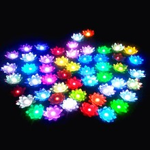 100 Pcs New Arrival Colorful Changing LED Lotus Lamp Floating Water Wishing Lantern Artificial Silk Flower Candle Lights