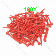 Hot 100Pcs 70mm Red Golf Ball Wood Tee WoodenTees New-K624