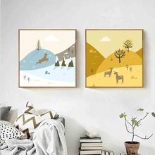 Amazing Nordic Style Canvas Painting Wild Running Reindeer In Snow Art Canvas Print wall Posters Painting For Kid's Room Decor