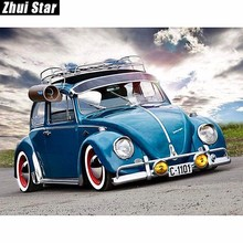 "Christmas Square Diamond 5D DIY Diamond Painting ""Blue car"" Embroidery Cross Stitch Rhinestone Mosaic Painting Home Decor"