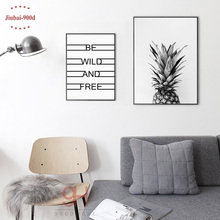 900D Posters And Prints Wall Art Canvas Painting Wall Pictures For Living Room Nordic Decoration Pineapple NOR5(China)