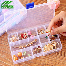 Free Ship Plastic 15 Slots Jewelry Adjustable Tool Made up Organizador Cosmetic Box Case Craft Organizer Make Up Storage Beads