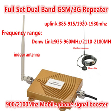 Mobile phone Amplifier 2G 900Mhz 2100Mhz EDGE/ HSPA Dual band Booster 3G GSM WCDMA UMTS Signal Repeater repeaters amplifier