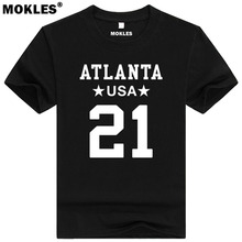 DEION SANDERS 21 atlanta custom made name number t shirt fort myers florida t-shirt team usa luywnn sr. print text word clothing(China)