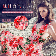 50x118cm Pink Flowers Printed Silk Fabric Natural Stretch Satin Elastic Clothing Material Haute Couture Materiel Tissus