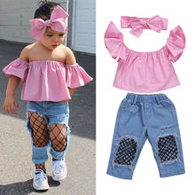 2017 Hot Selling 3Pcs Baby Girl Clothing Set Kids Bebes Girls Toddler Off Shoulder Tops Denim Fishnet Pants Outfits Set Clothes(China)