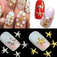 Summer Styles Starfish Fishing Shape 3D Nail Art Metal Charm Nail Jewelry DIY Craft Cell Phone Decoration Nail SuppliesTools(China)