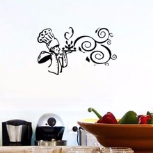 Beautiful Wall Sticker Cooking Food Cartoon Cook Kitchen Vinyl Wall Decor Kitchen Art Wall Decoration(China)