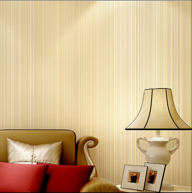 new hot sale 2016 non-woven plain coloured Pure color straight stripe wallpaper Coffee sitting room bedroom TV setting wall<br>