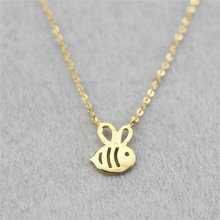 Tiny Gold Bee Necklace Pendant Tiny Animal Jewelry Necklace Chain Collares 2016 New Charm Love Gift