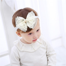 Cute!Baby Princess Lace Bow Headbands Kids Infant Mini Metal Heart Hairband Hair Accessories Children Birthday Party Head Wrap