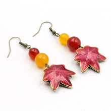 Yanting Maple Leaf Cloisonne drop earrings for women ethnic vintage jewelry new arrival women earring gift wholesale 0296(China)