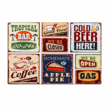Beer Food Coffee Apple Pie Combination Decorative Plates Retro Metal Plates Bar Wall Decor Vintage Metal Tin Signs N027(China)