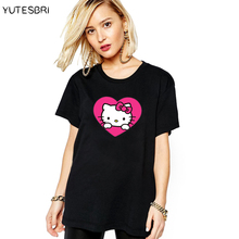 Hot sale kawaii designed Love Hello Kitty pattern cute t-shirt women funny short sleeves women tops tees t shirt for girls(China)