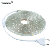 Tanbaby 220V LED Strip light 5050 SMD 60 LED/M IP67 Waterproof Outdoor Indoor Decoration Lighting Flexible Tape With EU Plug(China)