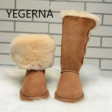 2016 Australia fashion Women Genuine Sheepskin Leather Snow Boots 100% Natural Fur Snow Boots Warm Wool Winter Boots(China)