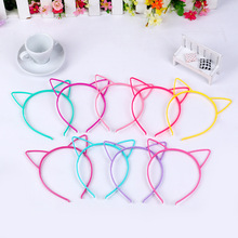 10Pcs Cute Kids Girl's Soft Solid Candy Colour Cat Ear Headband Washing Face Hair Band