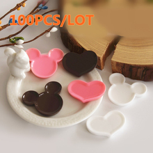 Wholesale 100PCS Resin Mickey Ear Shaped Heart Plate Miniature Kawaii Cabochon Mini Resin Plate Flatback Pink White Chocolate