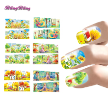 6 sheets Nail Art Decals Water Transfer Stickers Nails Set Princess Flowers Designs Full Cover Wrap Fingernail Decal Girls Kids