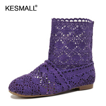EU41 Women fashion summer boots 2016 new cutouts hand knitted slip on shoes ladies casual ankle boots breathable flats KM1518(China)