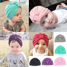 Baby Hats Cute Children's Knot Hat Autumn Winter Head Wrap Baby Boys Girls Cotton Caps Toddler Soft Beanie 2016 New