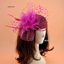 New Dotted Mesh Net Wedding Fascinator Hat Blac Red Pink Blue Floral Feather Bride Headpieces Ladies Cocktail Hair Accessories