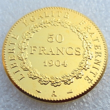 France 1904 Constitution 50 Francs Gold-Plated High Quality Copy Coins