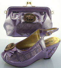very nice LILAC Italian Shoes with Matching bags good quality fashionable shoes and bag set For lady! EJS7310-11