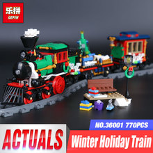Lepin 36001 770Pcs Creative Series The Christmas Winter Holiday Train Set Children Educational Gift Building Blocks Bricks 10254