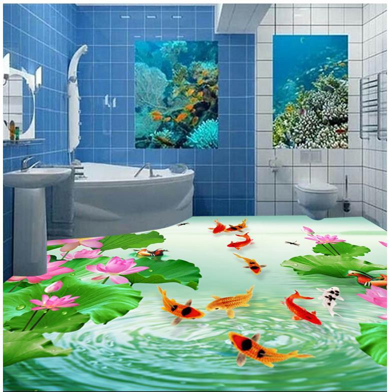 3d photo wallpaper custom 3d flooring painting wallpaper murals 3d floor tile fish play lotus 3d wallpaer living room<br>
