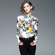Brand New Designer Women Silk Blouses and Shirts High Quality 2017 Spring Long Sleeve Butterfly Print Blouse Office Work Tops