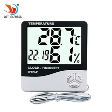 LCD Digital HTC-2 Thermometer Hygrometer Weather Station Temperature Humidity Tester Clock Alarm Indoor Outdoor Probe(China)