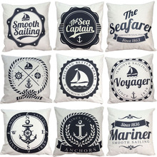 "18"" Marine Style Cushion Cover Simple White Black  Anchors Pattern Cotton Linen Pillow Cover Cushion Cover PillowCase Home Decor"