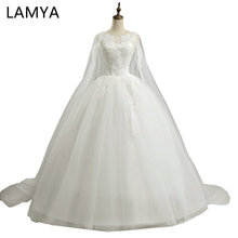 Buy Lamya 2018 Princess Simple Wedding Dresses Women Court Train Fashin Bride Gowns Customized Ball Gown vestido de noiva Real Photo for $44.99 in AliExpress store