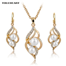 TOUCHEART Simulated Pearl Indian Wedding Jewelry Sets for Women Bridal Crystal Gold color Earrings Statement Necklaces SET140024(China)