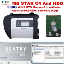 2017 High Quality obd 2 scanner mb star c4 and 2017 12 DTS+vediamo win7 software HDD for mercedes benz sd c4 car diagnostic tool(China)