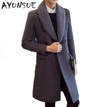 Mens Double Breasted Wool Overcoat Fur Collar Winter Jacket Men Coats Black Long Slim Mens Wool Coat Men Brand-Clothing WUJ1163