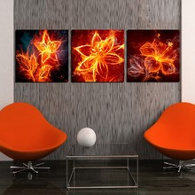 3 Panel Modern Painting Home Decorative Art Picture Paint on Canvas Prints The flame of lilies, daffodils and jasmine(China)