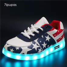 7ipupas High Quality Led Shoes kids Glowing sneakers children boys girls deepblue Casual Shoes Luminous Led Light Up Sneakers