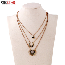 SHEEGIOR New Vintage Choker Necklace Multilayers Opal Sun Moon Star Channel Pendants & Necklace for Women Fashion Jewelry Bijoux(China)