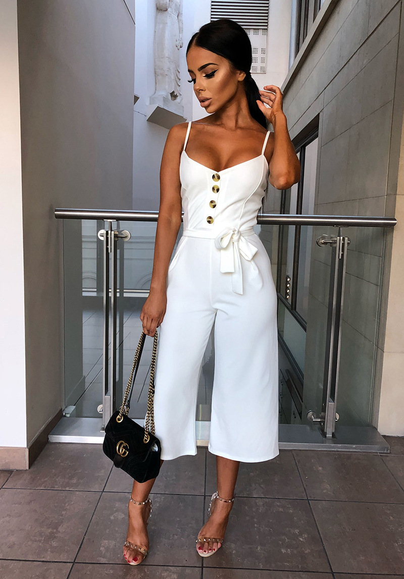 101046 2019 Summer Women Solid Skinny Sexy Jumpsuit Casual Bandage Streewear Spaghetti Strap V-neck Playsuit Overalls for Women Party 3