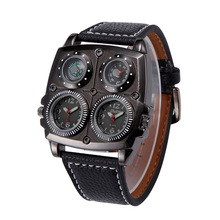 Men watch Adventure Men's Military Watch with Two Movt Compass Thermometer Function Silver Case 25mm Leather Band White  PT
