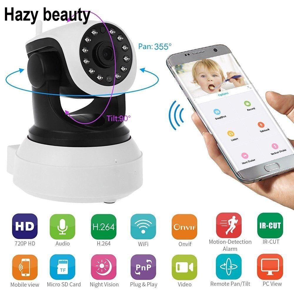 Hazy beauty HD Wireless IP Camera 720P Night Vision Security Camera P2P 2.4 Onvif Camera WIFI Indoor Surveillance Camera<br>